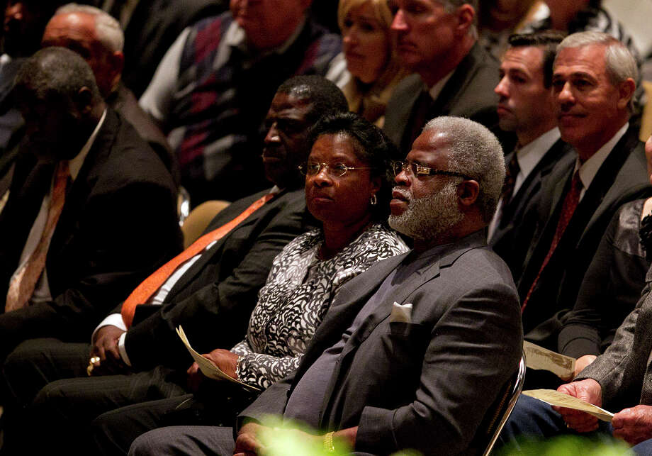 Former Texas football palyer Earl Campbell  attends a public memorial for former Texas football coach Darrell K. Royal , Tuesday, Nov. 13, 2012, in Austin, Texas. Royal, the coach who led Texas to two national championships and revolutionized college football with the introduction of the wishbone in 1968, died Nov. 7 at age 88.  (AP Photo/Statesman.com, Deborah Cannon)  MAGS OUT; NO SALES; INTERNET AND TV MUST CREDIT PHOTOGRAPHER AND STATESMAN.COM Photo: Deborah Cannon, Associated Press / Statesman.com