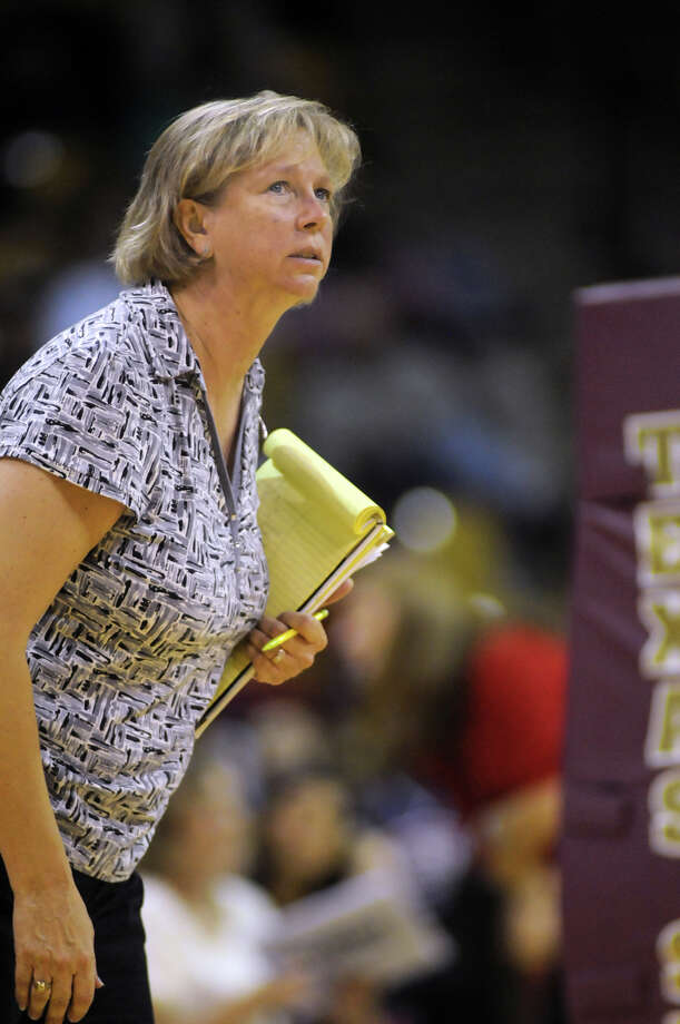 Cy Falls volleyball coach Kathy Stephenson has put together a storied run over the last 20 years in charge of the Golden eagles program, recently recording her 500th career win. Photo: Jerry Baker, Freelance
