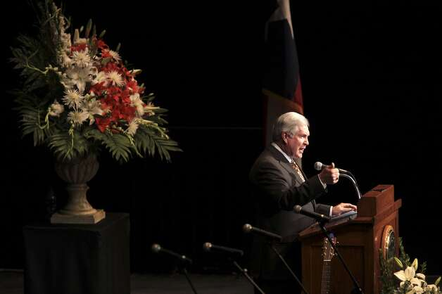 University of Texas Head Football Coach Mack Brown during the memorial for former University of Texas Football Coach Darrell K Royal at the Frank Erwin Center in Austin, Tuesday, Nov. 12, 2012. (San Antonio Express-News)