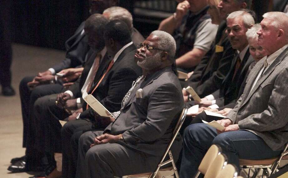 Former Univeristy of Texas and retired National Football League running back Earl Campbell waits for the start of the memorial for former University of Texas Football Coach Darrell K Royal at the Frank Erwin Center in Austin, Tuesday, Nov. 12, 2012. (San Antonio Express-News)