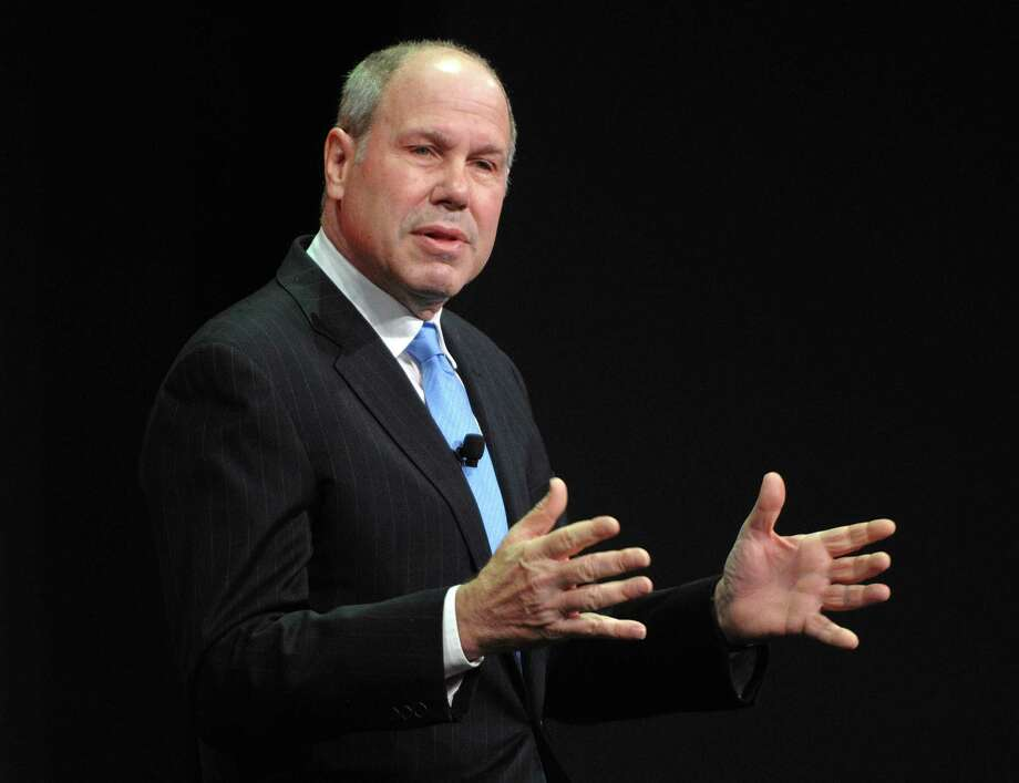 FILE - In this Thursday, March. 12, 2009, file photo, Michael D. Eisner speaks at the the Nickelodeon 2009 upfront presentation, in New York.  Former Disney CEO Michael Eisner is getting back in the movie business. The 70-year-old said Tuesday, Nov. 13, 2012, that the media company he founded, The Tornante Company, will finance films that will be distributed by Comcast Corp.'s Universal Pictures. (AP Photo/Peter Kramer, File) Photo: Peter Kramer
