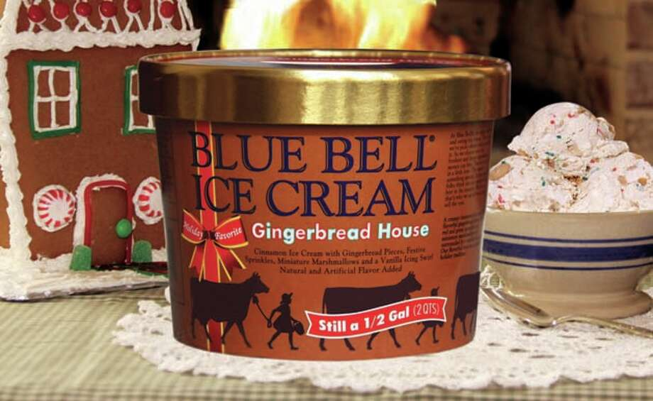 Gingerbread House Ice Cream is Blue Bell's new holiday flavor -- cinnamon ice cream with gingerbread pieces, red and green sprinkles and miniature marshmallows surrounded by a vanilla icing swirl. Photo: Blue Bell
