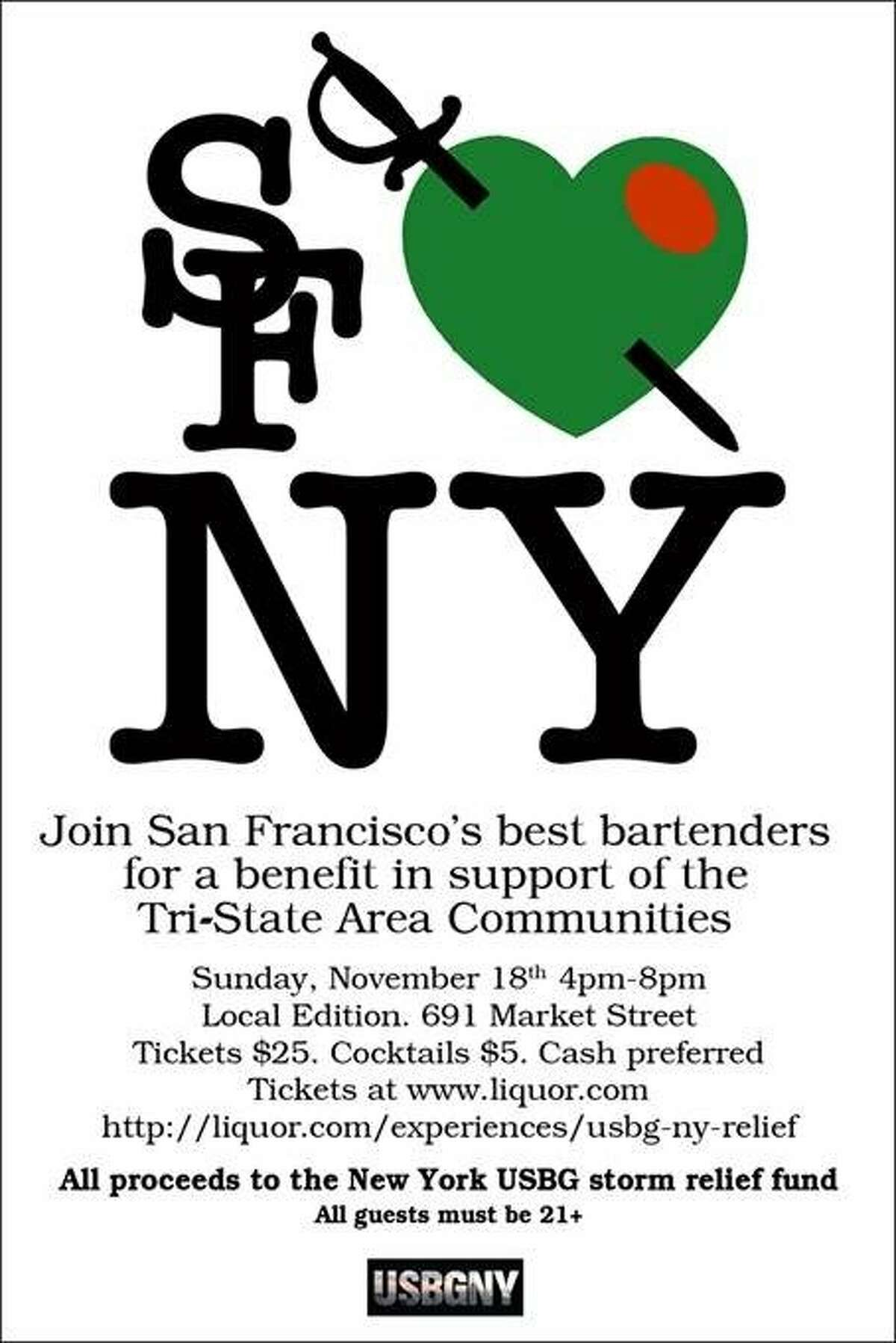 buzz item Join San Francisco's best bartenders for a benefit in support of the Tri-State Area Communities Sunday, Nov 18, 4-8 pm