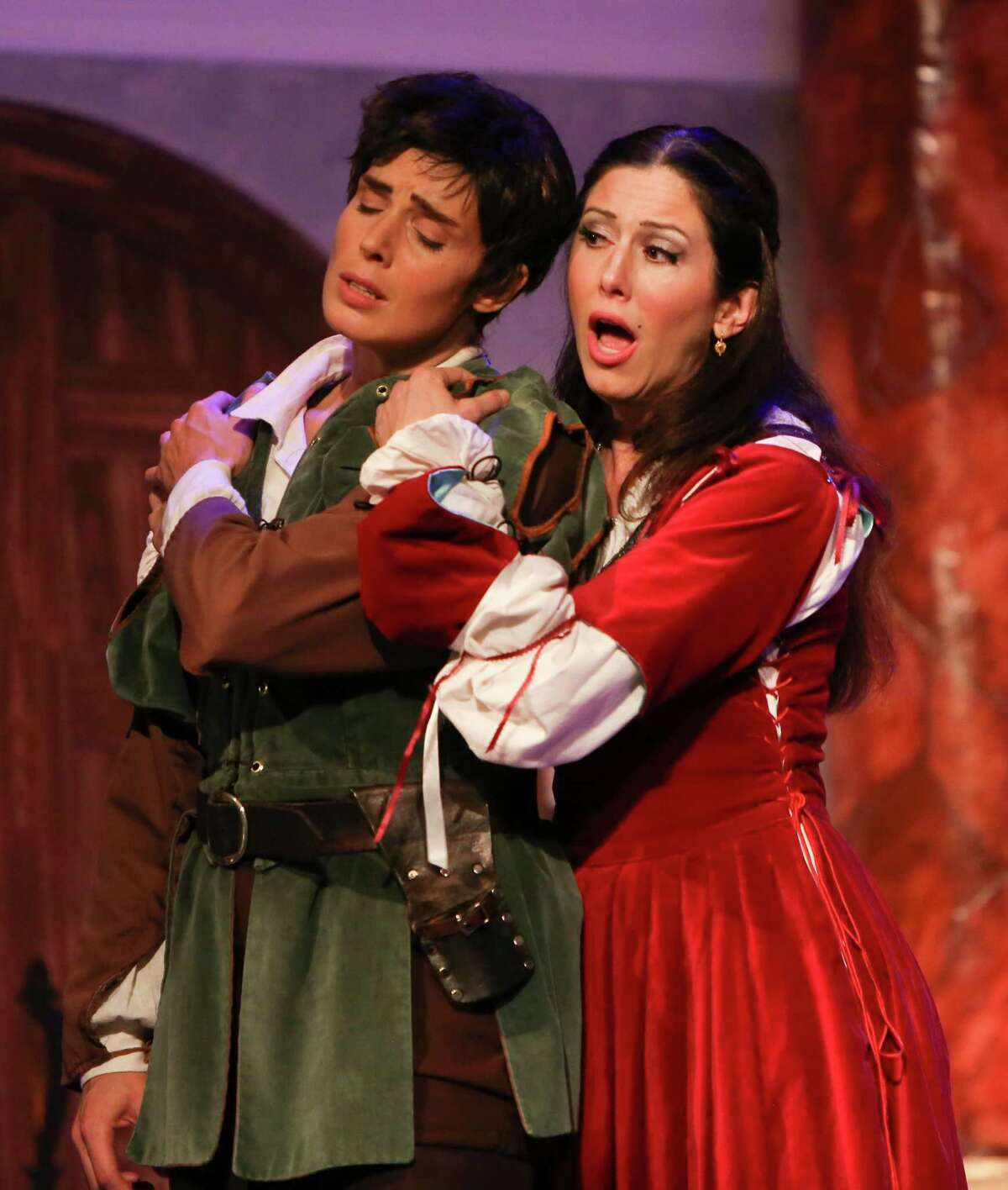 """Sarah Heltzel and Camille Zamora as Romeo and Juliet in Opera in the Heights' production of """"I Capuleti e i Montecchi"""" (The Capulets and the Montagues) photo by Kinjo Yonemoto"""