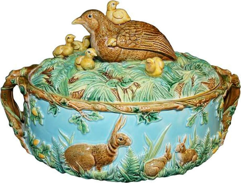 """George Jones  """"Chicks""""  game pie dish, one of several Majolica pieces available at the Theta Charity Antiques Show.. Charles  L. Washburne Antiques photo. Photo: Charles  L. Washburne Antiques"""