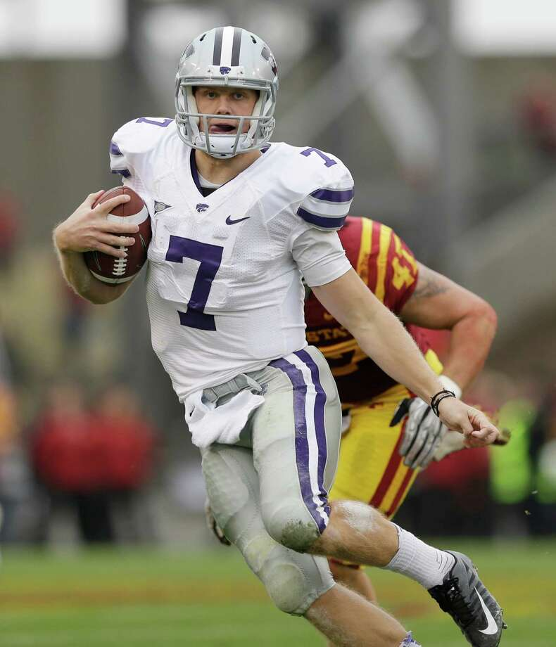 Kansas State quarterback Collin Klein scrambles during the first half of an NCAA college football game against Iowa State, Saturday, Oct. 13, 2012, in Ames, Iowa. (AP Photo/Charlie Neibergall) Photo: Charlie Neibergall, Associated Press / AP