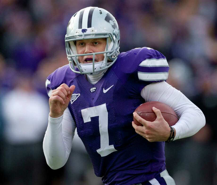 Kansas State quarterback Collin Klein (7) runs for a touchdown during the second half of an NCAA college football game against Texas Tech in Manhattan, Kan., Saturday, Oct. 27, 2012. Kansas State defeated Texas Tech 55-24. (AP Photo/Orlin Wagner) Photo: Orlin Wagner, Associated Press / AP