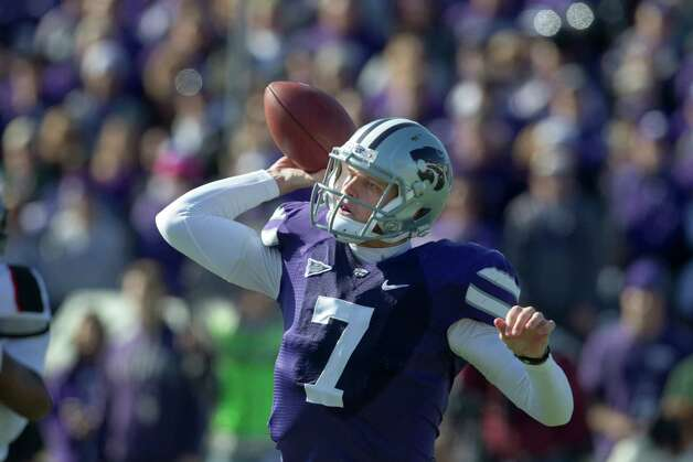 Kansas State quarterback Collin Klein (7) during the first half of an NCAA college football game against Texas Tech in Manhattan, Kan., Saturday, Oct. 27, 2012. (AP Photo/Orlin Wagner) Photo: Orlin Wagner, Associated Press / AP