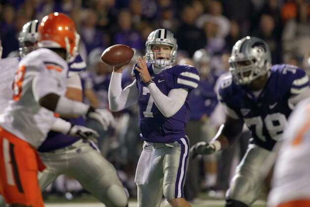 Kansas State quarterback Collin Klein (7) during the first half of an NCAA college football game against Oklahoma State in Manhattan, Kan., Saturday, Nov. 3, 2012. (AP Photo/Orlin Wagner) Photo: Orlin Wagner, Associated Press / AP
