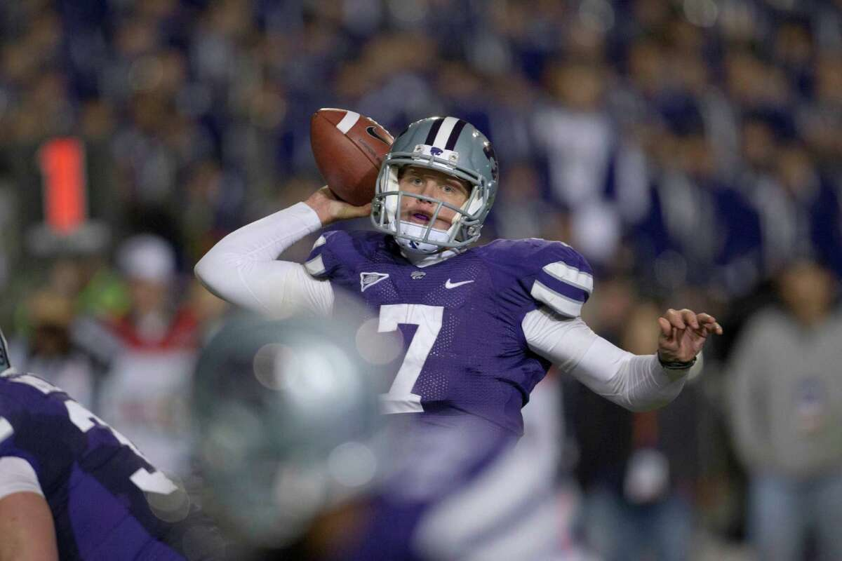Kansas State quarterback Collin Klein (7) during the first half of an NCAA college football game against Oklahoma State in Manhattan, Kan., Saturday, Nov. 3, 2012. (AP Photo/Orlin Wagner)