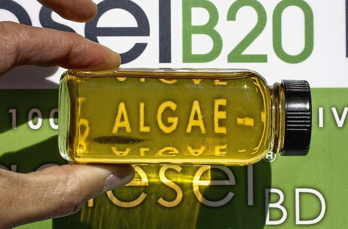 A sample of the product a 100% algae derived biodiesel fuel, as Solazyme, Inc. and Propel Fuels, through a joint effort began selling biodiesel fuels on Tuesday Nov. 13, 2012 at a Valero station in Redwood City, Calif., one of the four locations in the Bay Area. Bay Area drivers will become the first consumers worldwide to fill their gas tanks with American-made green biodiesel fuels.