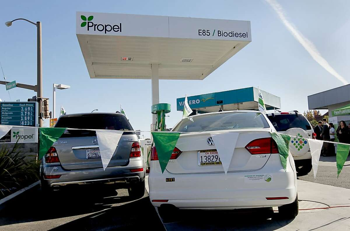 A joint effort by Solazyme, Inc. and Propel Fuels began selling biodiesel fuels on Tuesday Nov. 13, 2012 at a Valero station in Redwood City, Calif., one of the four locations in the Bay Area. Bay Area drivers will become the first consumers worldwide to fill their gas tanks with American-made green biodiesel fuels.