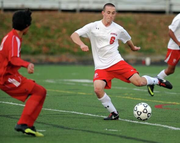 Fairfield Prep's Patrick Connolly controls the ball during the Class LL soccer quarterfinals against Conard Tuesday, Nov. 13, 2012 at Alumni Field on the campus of Fairfield University. Photo: Autumn Driscoll / Connecticut Post