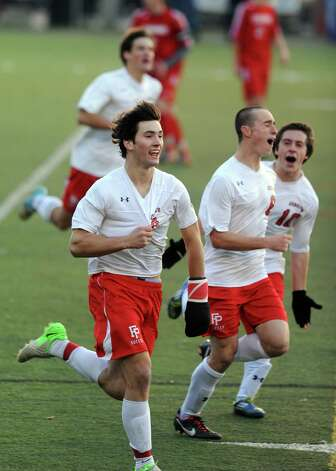 Fairfield Prep's Stephen Tortora celebrates his goal during the Class LL soccer quarterfinals against Conard Tuesday, Nov. 13, 2012 at Alumni Field on the campus of Fairfield University. Photo: Autumn Driscoll / Connecticut Post