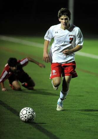 Fairfield Prep's Timothy Frassetto controls the ball during the Class LL soccer quarterfinals against Conard Tuesday, Nov. 13, 2012 at Alumni Field on the campus of Fairfield University. Photo: Autumn Driscoll / Connecticut Post