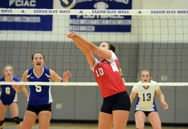 Greenwich's Xanthi Katsigiannis (10) hits the ball during the girls volleyball match against Darien at Darien High School on Tuesday, Nov. 13, 2012. Photo: Amy Mortensen / Connecticut Post Freelance