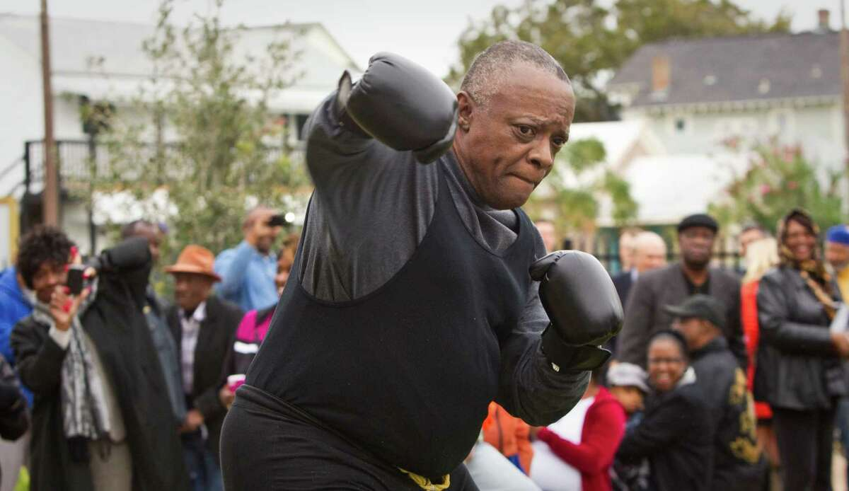 Raymond Key, of Jackson Mississippi, portrays boxing legend Jack Johnson during a dedication ceremony for Jack Johnson Park at the Old Central High School, Tuesday, in Galveston. Johnson was the first African American heavyweight champion.