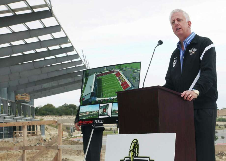 Gordon Hartman, CEO of The Gordon Hartman Family Foundation and head of Soccer for a Cause, speaks about the construction update of the Toyota Soccer Stadium. Toyota Field  has reached two-third completion and will open next April for the 2013  North American Soccer League next season. Photo: Juanito M Garza, Express-News / San Antonio Express-News