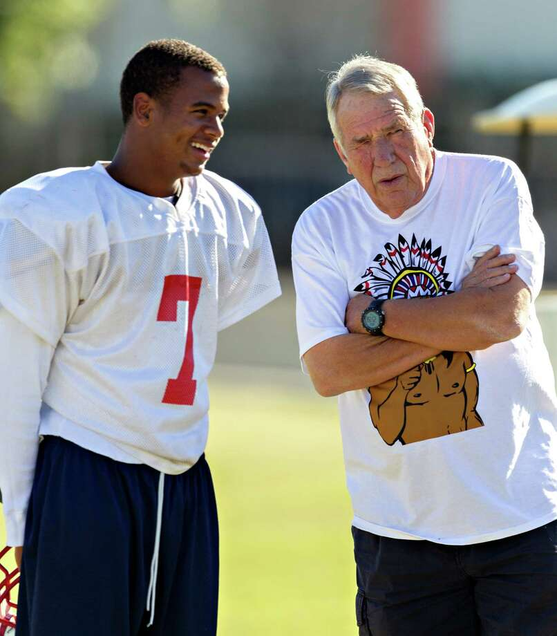 Lamar football coach Tom Nolen, right, hopes quarterback Darrell Colbert can lead the team to a long playoff run. This is the 26th Lamar team Nolen has guided into postseason play in 28 years. Photo: Bob Levey, For The Chronicle / ©2012 Bob Levey