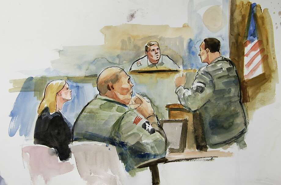 Staff Sgt. Robert Bales (second from left) and his attorney, Emma Scanlan, listen to the proceedings in this artist's sketch of the Joint Base Lewis-McChord courtroom. Photo: Lois Silver, Associated Press