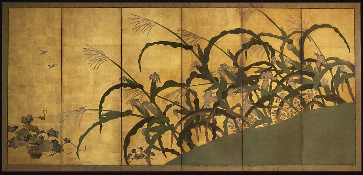 """""""Maize and Coxcomb"""" Edo period (1615-1868). One of a pair of six panel folding screens, ink, colors, and gold on paper, artist unknown 69 in x 145 in each. Larry Ellison Collection"""