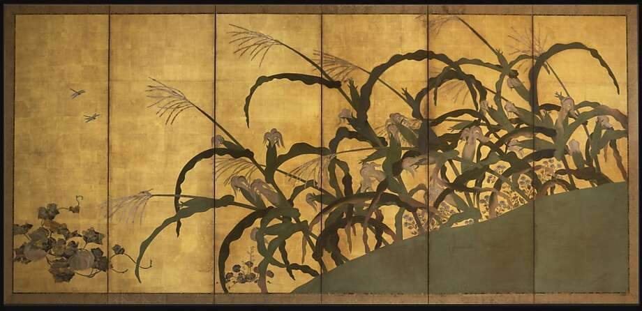 """Maize and Coxcomb"" is by an unknown artist during the Edo period (1615-1868). It is part of billionaire Larry Ellison's collection, managed by Emily Sano, left. Photo: Unknown"