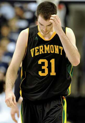 Vermont's Clancy Rugg reacts in the second half of an NCAA basketball game against Connecticut in Storrs, Conn., Tuesday, Nov. 13, 2012. No. 23 Connecticut won 67-49. (AP Photo/Jessica Hill) Photo: Jessica Hill, Associated Press / FR125654 AP