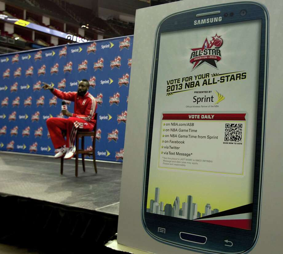 James Harden is likely to be the Rocket who receives the most All-Star votes, which can be cast in the ways detailed on the phone. Photo: James Nielsen, Staff / © Houston Chronicle 2012