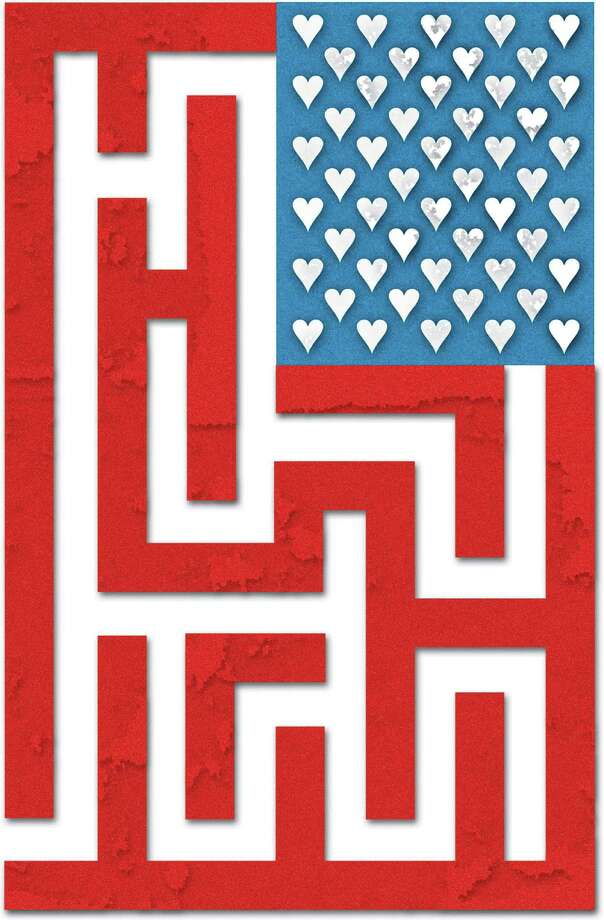 Zach Folzenlogen color illustration of American flag with hearts instead of stars and a maze of bars and stripes. The Miami Herald 2006  newlywed game american flag gay marriage love heart game maze dating puzzle krtfeatures features, krtnational national, krtrelationship relationship, krt, aspecto aspectos americana bandera corazon amor san valentin juego laberinto rompacabezas illustration ilustracion grabado, day 4th, krtfourth fourth of july independence, krtholiday holiday, krtsummer summer, krtvalentine valentine's day valentine, krtwinter winter, risk diversity woman women, 2006, krt2006, mi contributor coddington folzenlogen mct mct2006 Photo: Folzenlogen / © MCT 2006