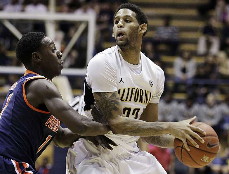 California's Allen Crabbe, right, looks to pass away from Pepperdine's Jordan Baker during the secon