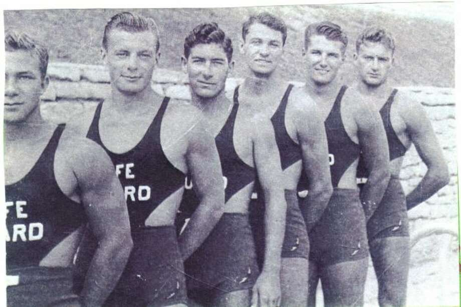 Dr. Buck Rikli as a life guard with other life guards at Naperville, Illinois swimming pool in 1940.  (Barbara Clark / MySanAntonio.com)