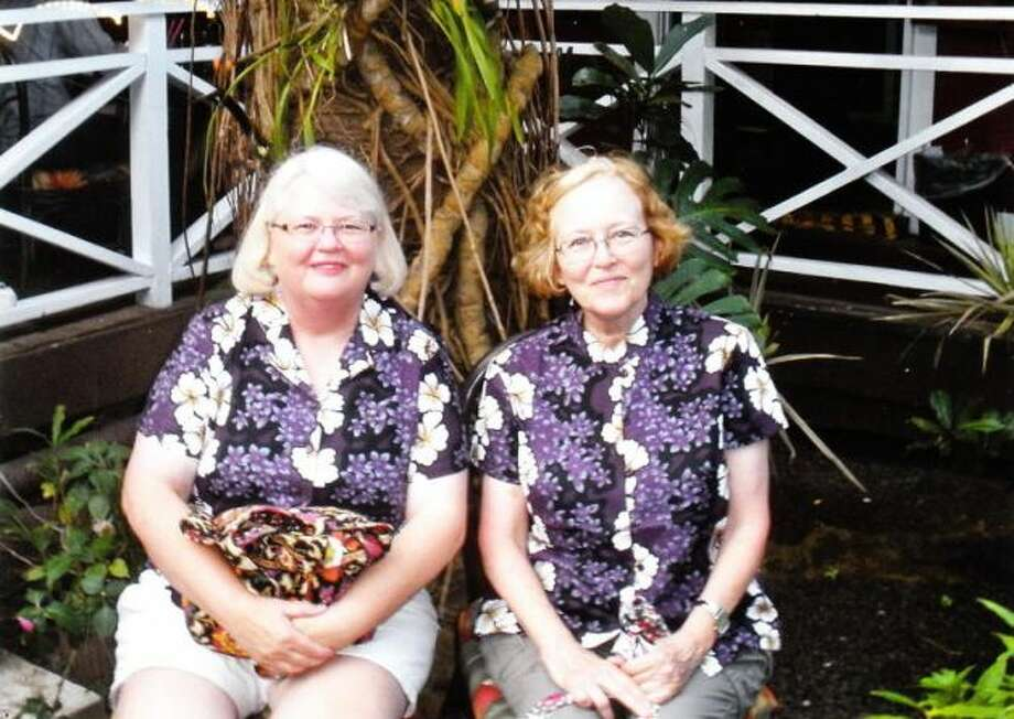 When cleaning out my mother's house last September, my sisters and I found a photo my grandmother and her sister in Hawaii in 1955. My sister Nancy Herrington (left) and I had a trip planned to Hawaii so we tried to duplicate the picture. We just didn't have the flowered print dresses on hand, though.  (Norma Sturdivant / MySanAntonio.com)