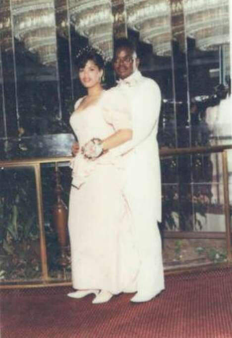 This photo of my husband, Johnnie Griffin, and me, Tamara Griffin was taken in Central Islip, NY at Johnnie's High School Senior Prom in 1990. (Tamara Griffin / MySanAntonio.com)