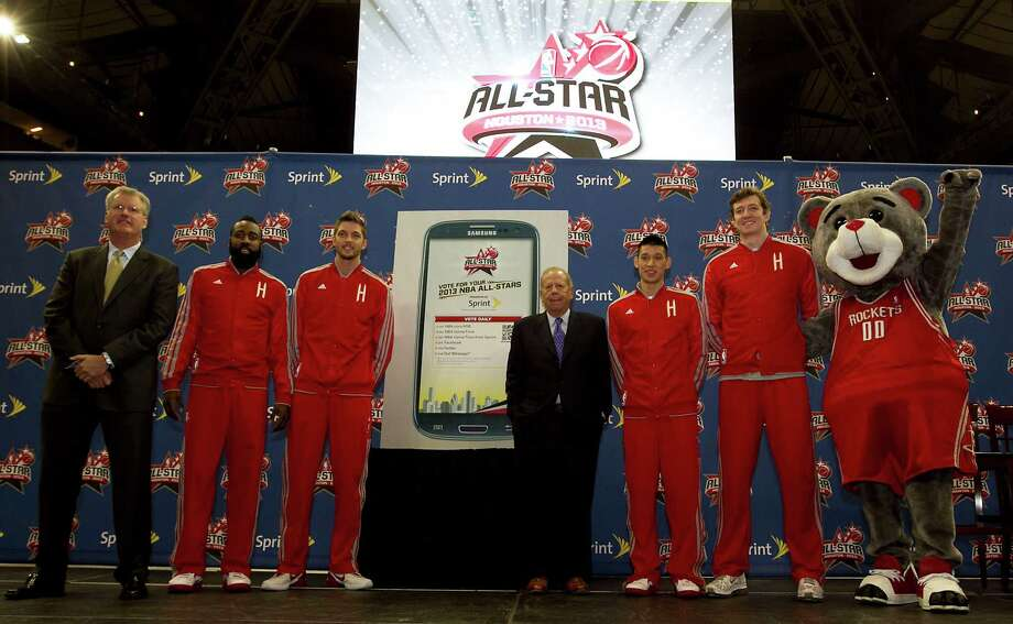 Sprint Director Sports Marketing Tim Considine left, the Houston Rockets All-Star game nominees James Harden, Chandler Parsons, Rockets Owner Leslie Alexander, Rockets All-Star game nominees Jeremy Lin, Omer Asik and Rockets Mascot Clutch during the unveiling the official 2013 NBA All-Star Ballot presented by Sprint at the Toyota Center in Houston. Tuesday, Nov. 13, 2012, in Houston.  Houston will is the host city of NBA All-Star 2013. Photo: James Nielsen, Chronicle / © Houston Chronicle 2012