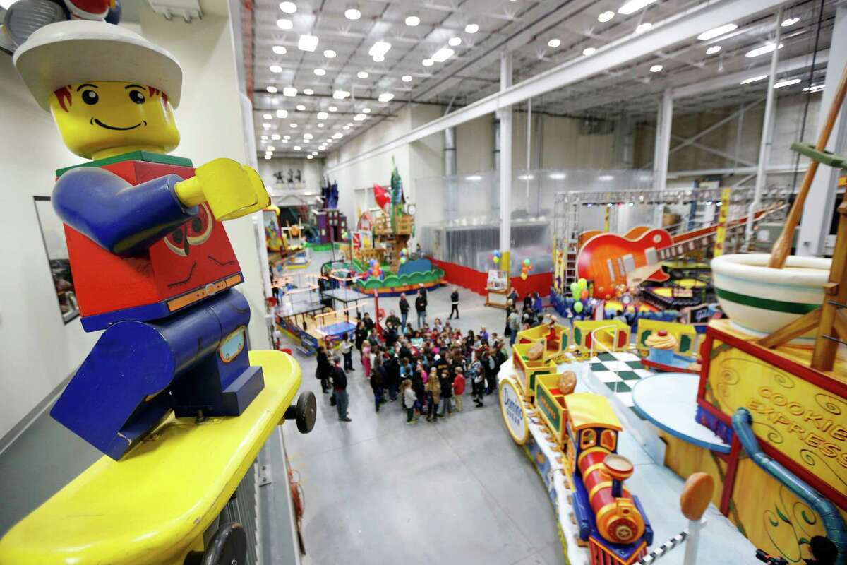 Schoolchildren are given a sneak peek of the new floats for the Macy's Thanksgiving Day Parade during a field trip to the Macy's Studio, Tuesday, Nov. 13, 2012, in Moonachie, N.J.