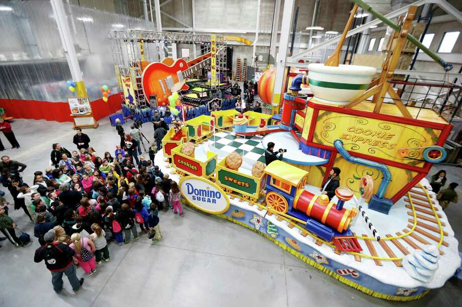 Schoolchildren are given a sneak peek of the new floats for the Macy's Thanksgiving Day Parade during a field trip to the Macy's Studio, Tuesday, Nov. 13, 2012, in Moonachie, N.J. Photo: Julio Cortez, AP / AP