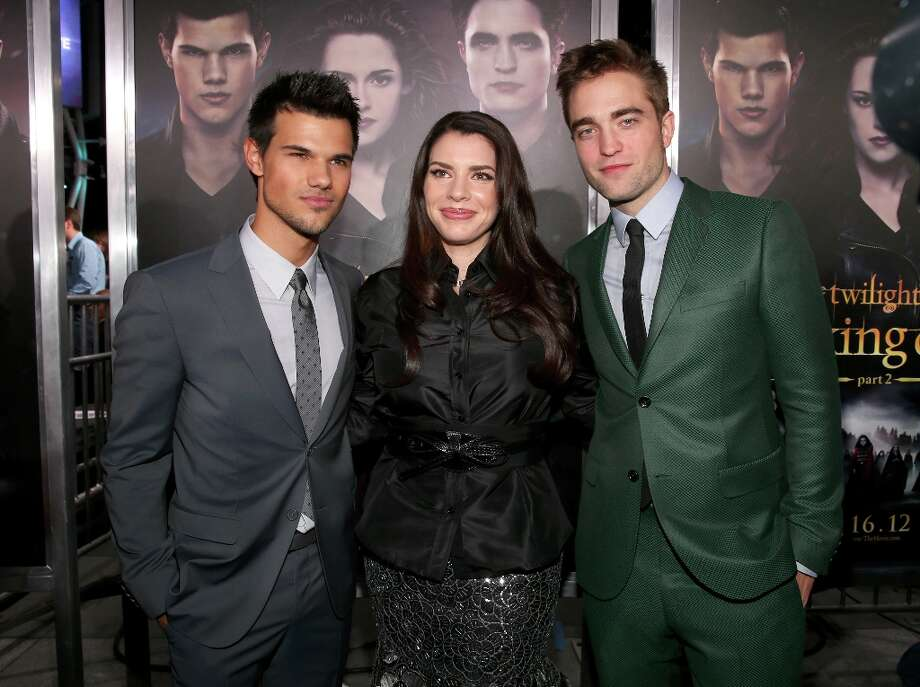 "(L-R) Actors Taylor Lautner, Kristen Stewart, author Stephenie Meyer, and actor Robert Pattinson arrive at the premiere of Summit Entertainment's ""The Twilight Saga: Breaking Dawn - Part 2"" at Nokia Theatre L.A. Live on November 12, 2012 in Los Angeles, California.  (Photo by Christopher Polk/Getty Images) Photo: Christopher Polk, Getty Images / 2012 Getty Images"