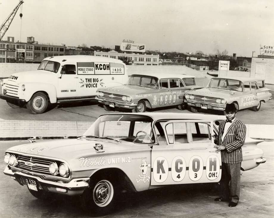 From the Aug. 26, 1963, Houston Post: The KCOH vehicles, which serve as service cars as well as mobile units are checked by Lee Mayes. KCOH drivers are encouraged to assist motorists who might have flats, empty gas tanks or any other problems. (Houston Post)