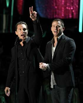 Matthew McConaughey, left, and Channing Tatum are seen on stage at the MTV Movie Awards on Sunday, June 3, 2012, in Los Angeles. Photo: Matt Sayles, MATT SAYLES/INVISION/AP / 2012 Invision