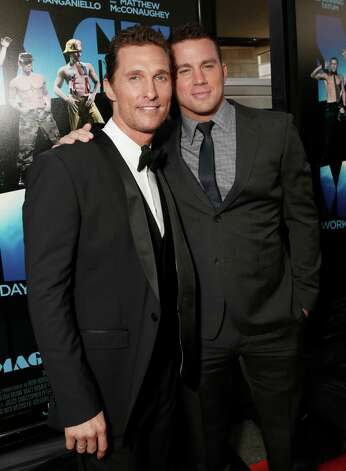 "Actors Matthew McConaughey and Channing Tatum attend the premiere of ""Magic Mike"" at Regal Cinemas L.A. Live on Sunday, June 24, 2"