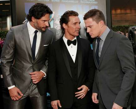 "Actors Joe Manganiello, from left, Matthew McConaughey and Channing Tatum attend the premiere of ""Magic Mike"" at Regal Cinemas L.A. Live on Sunday, June 24, 2012, in Los Angeles. Photo: Todd Williamson, TODD WILLIAMSON/INVISION/AP / 2012 Invision"