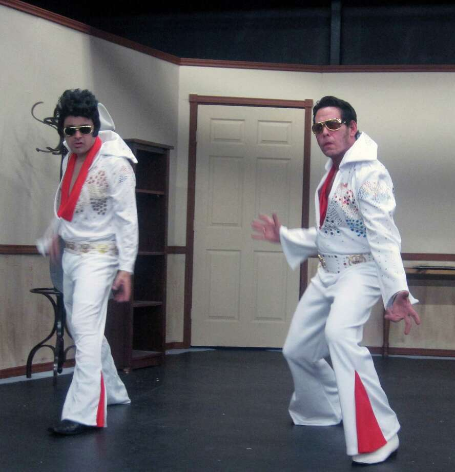 """Steven Valdez (left) and Allen Rudolph play Elvis impersonators in the comedy """"Elvis Has Left the Building."""" Photo: Courtesy, Christine Crowley"""