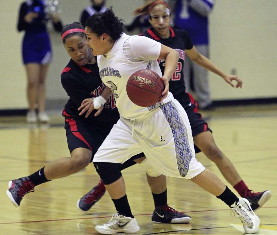 Destiny Amezquita, Jay: Northern ArizonaDestiny Amezquita handles the ball in the final minute for the Mustangs as Ashley Ross tries to foul and stop the clock as Wagner defeats Jay in girls playoff basketball action at Littleton Gym on February 17, 2012 Tom Reel/ San Antonio Express-News (San Antonio Express-News)