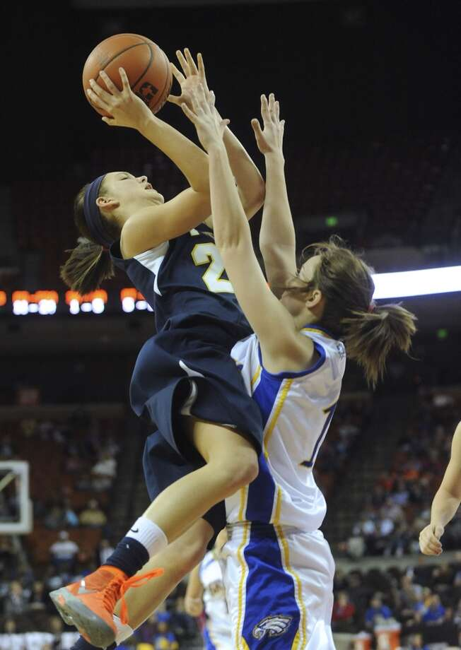 Micah Weaver, Poth: Texas A&M-KingsvilleMicah Weaver of Poth shoots over Savannah Fisher of Brock during UIL Conference 2A state finals action in Austin on Saturday, March 3, 2012. Billy Calzada / San Antonio Express-NewsBrock Lady Eagles vs. Poth Pirettes (San Antonio Express-News)
