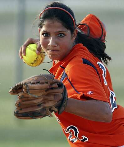 Brenda Parnin, Brandeis: Texas A&M InternationalBronco shortstop Brenda Parnin draws a bead on first afte knocking down a grounder as Brandeis beats Southwest 6-4 in playoff action at Southwest High School on April 26, 2012. Tom Reel/ San Antonio EXpress-News (San Antonio Express-News)