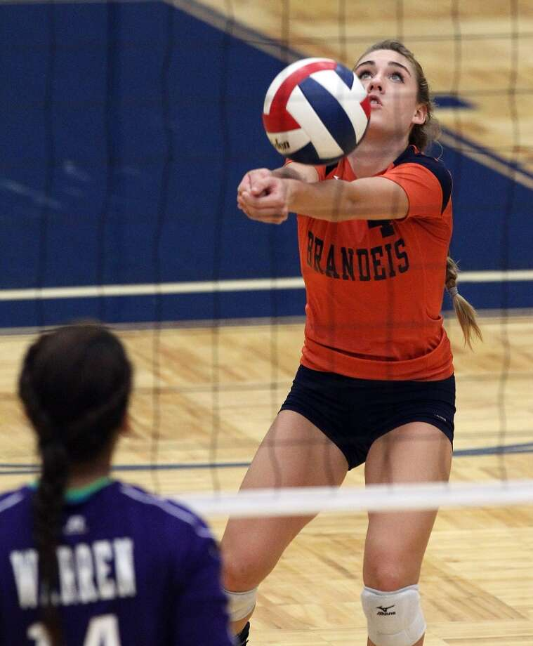 Cydney Denning, Brandeis: Missouri Science and Technology — signing ThursdayBrandeis' Cydney Denning (04) returns a serve against Warren in high school volleyball at Taylor Fieldhouse on Wednesday, Sept. 26, 2012. (SAN ANTONIO EXPRESS-NEWS)