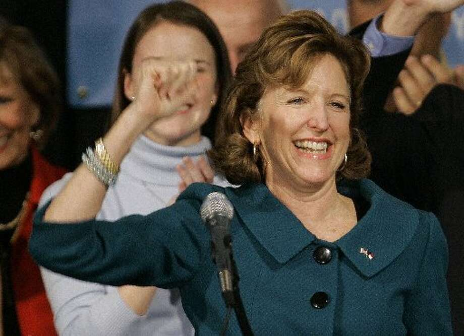 Kay Hagan, D-North Carolina, celebrates after her victory Tuesday night. (AP Photo/Gerry Broome)