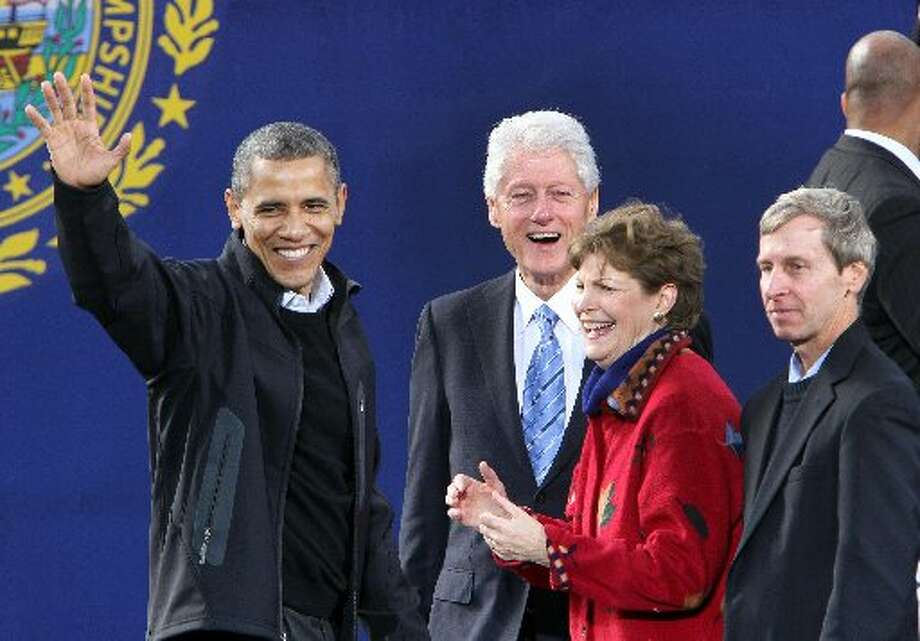 Sen. Jeanne Shaheen, D-New Hampshire, stands with President Barack Obama and former President Bill Clinton. (AP  Photo/Jim Cole)