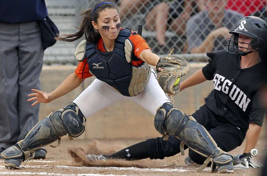 Christy Trevino, Brandeis: Incarnate WordBrandeis catcher Christy Trevino grabs the ball for a force out of Kaycee Govett at home in the second inning as Seguin beats Brandeis 6-3 in area softball playoff action at the Northeast Softball Complex on May 3, 2012. Tom Reel/ San Antonio EXpress-News (San Antonio Express-News)