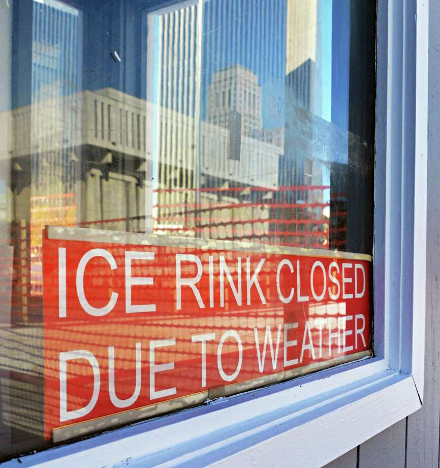 Sign in the window of the ice rink booth on the Empire State Plaza in Albany Wenesday Nov.14, 2012.  (John Carl D'Annibale / Times Union) Photo: John Carl D'Annibale